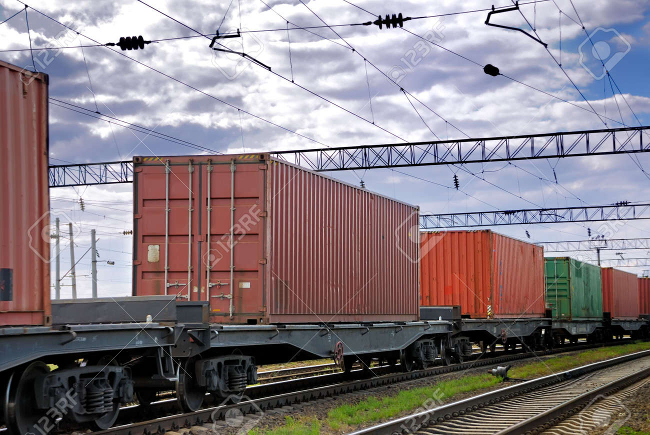The train transports containers Stock Photo - 3637282