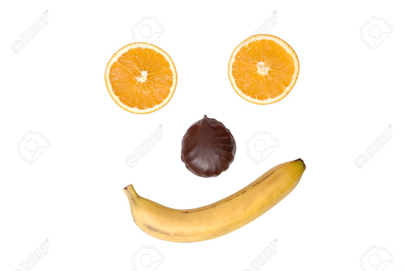 Smile from fruit and a zephyr on white Stock Photo - 4022774