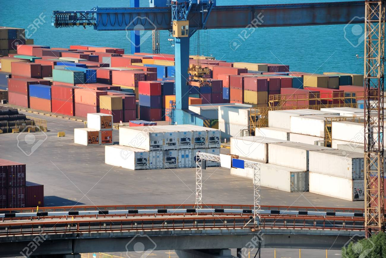 Port warehouse with containers and industrial cargoes Stock Photo - 5550968