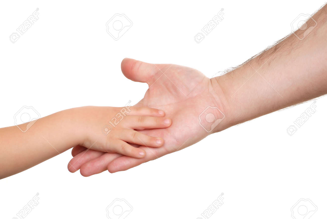 Hand shake of the child and father isolated Stock Photo - 6080869
