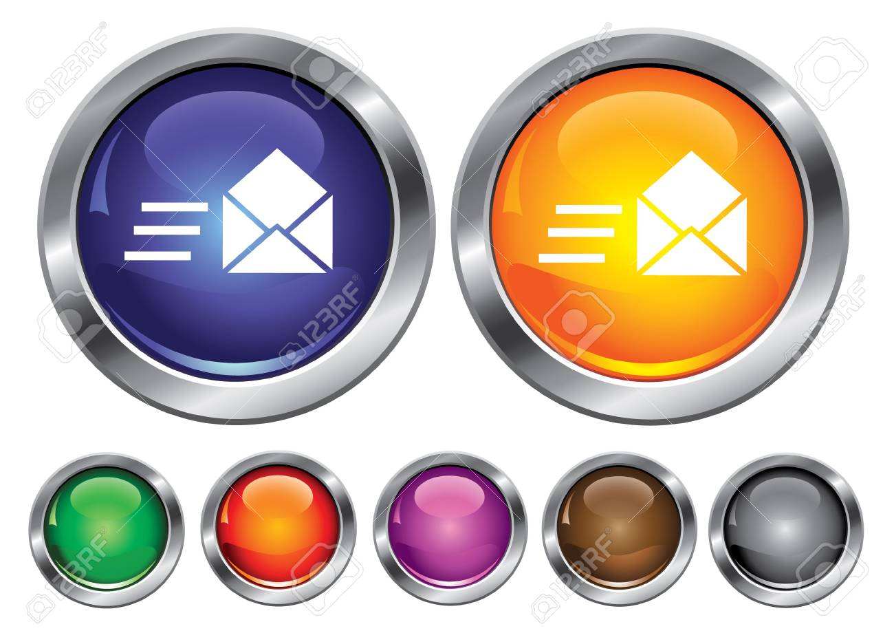collection icons with speed mail sign, empty button included Stock Vector - 6823897