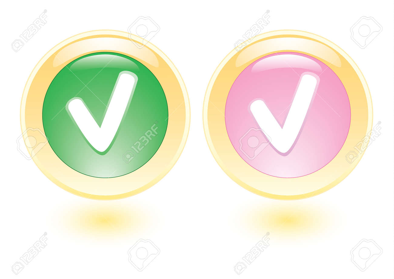 collection icons with check sign Stock Photo - 6921717