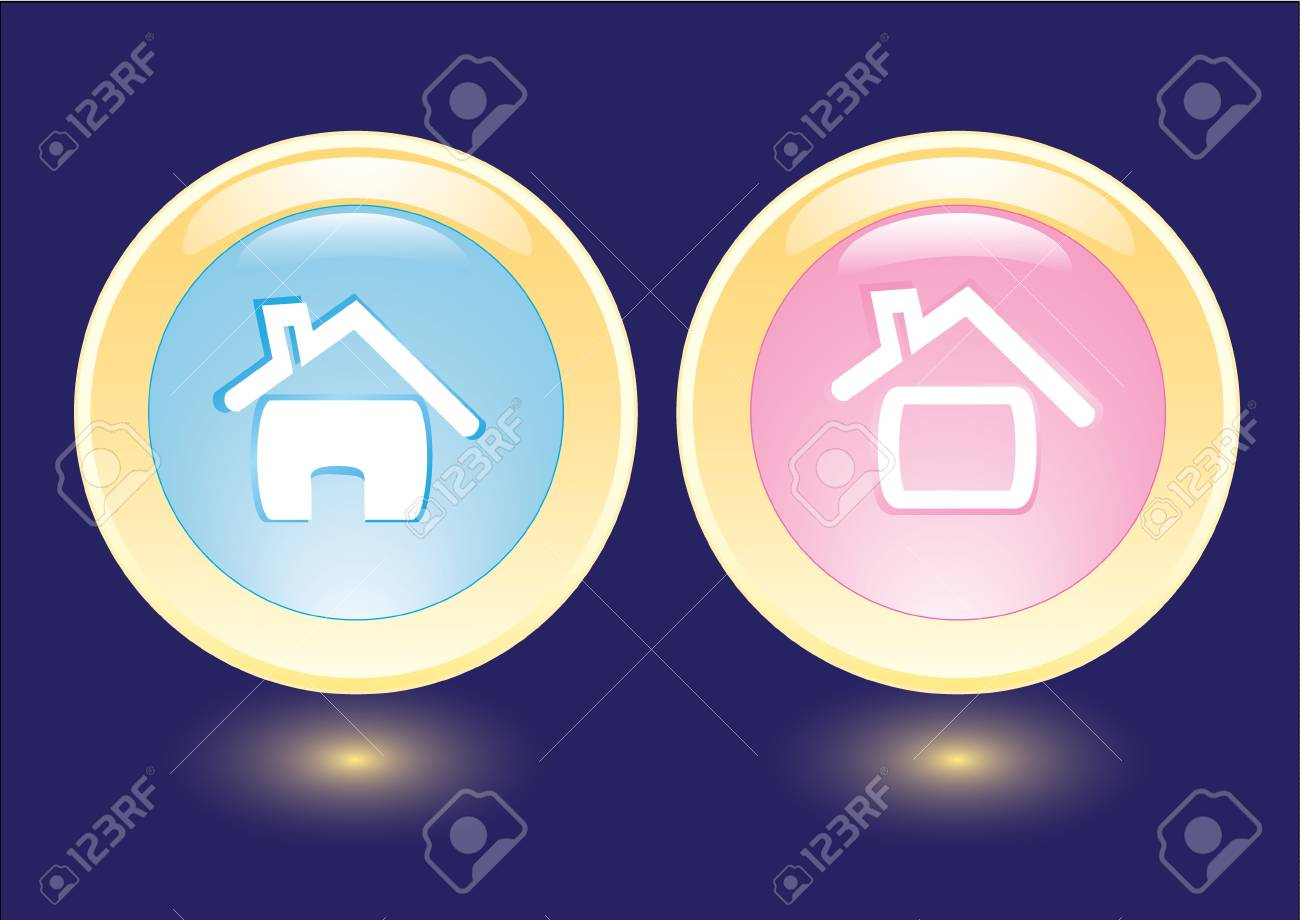 collection buttons with house icon Stock Vector - 7051870