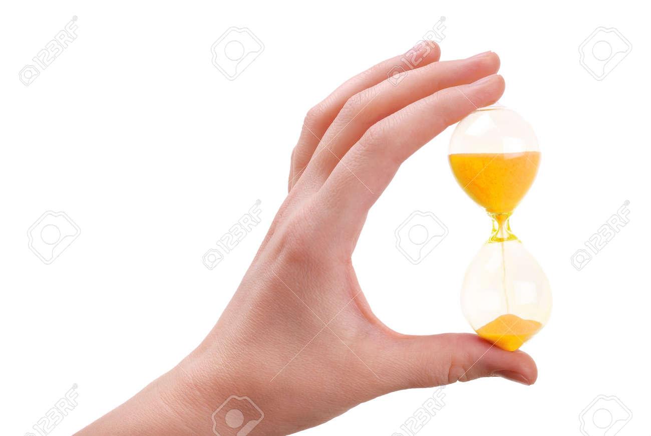 Die Weibliche Hand Hält Ein Sand Glas Mit Sand Der Goldenen Farbe