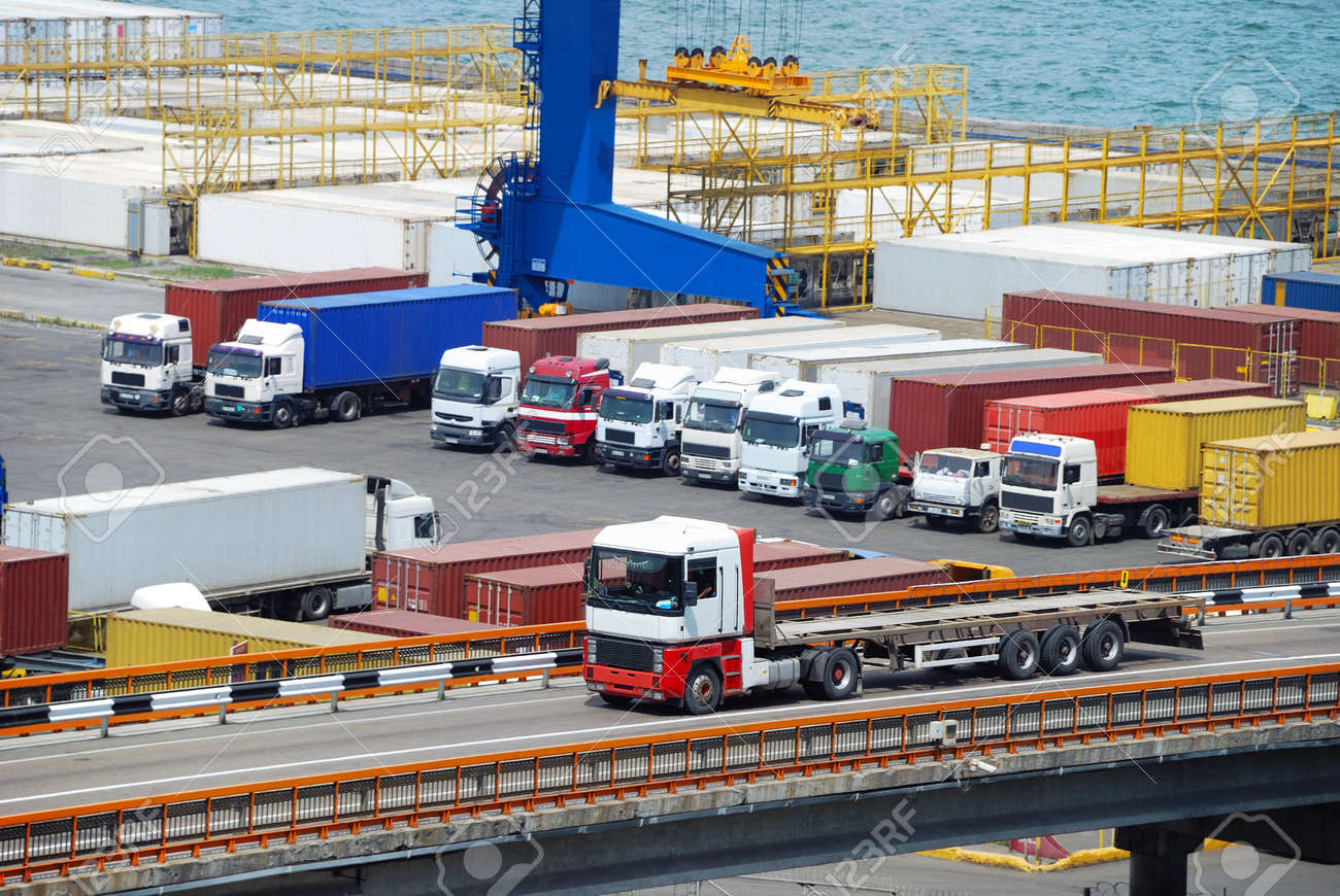 truck and container warehouse near the sea Stock Photo - 10802674