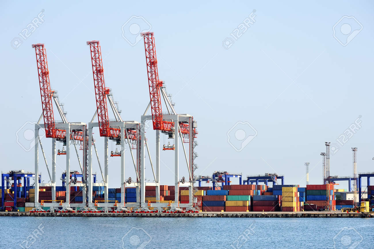 port cranes and container warehouse Stock Photo - 11541131