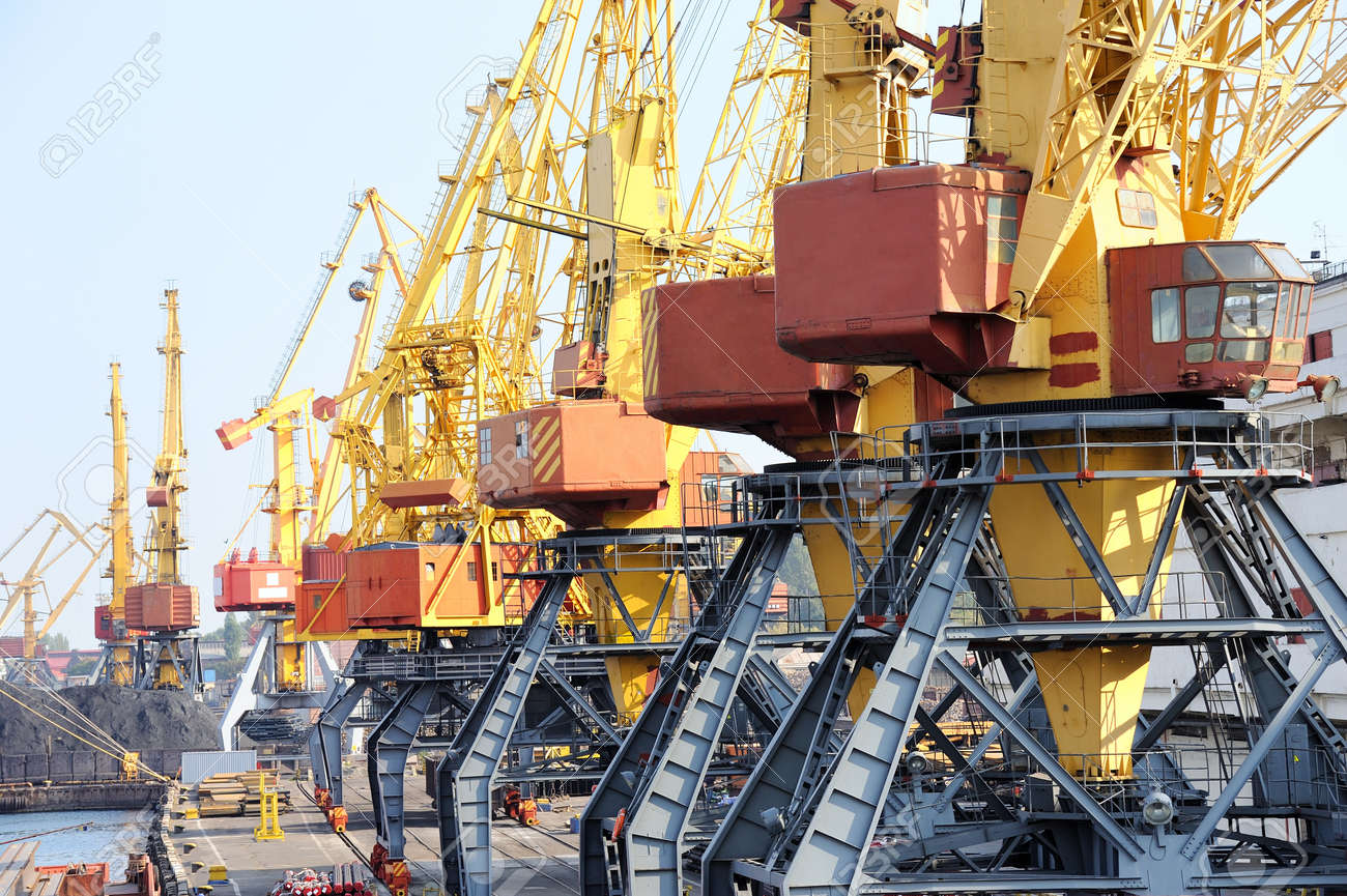 Industrial port. Chassis port cranes. Stock Photo - 11541138