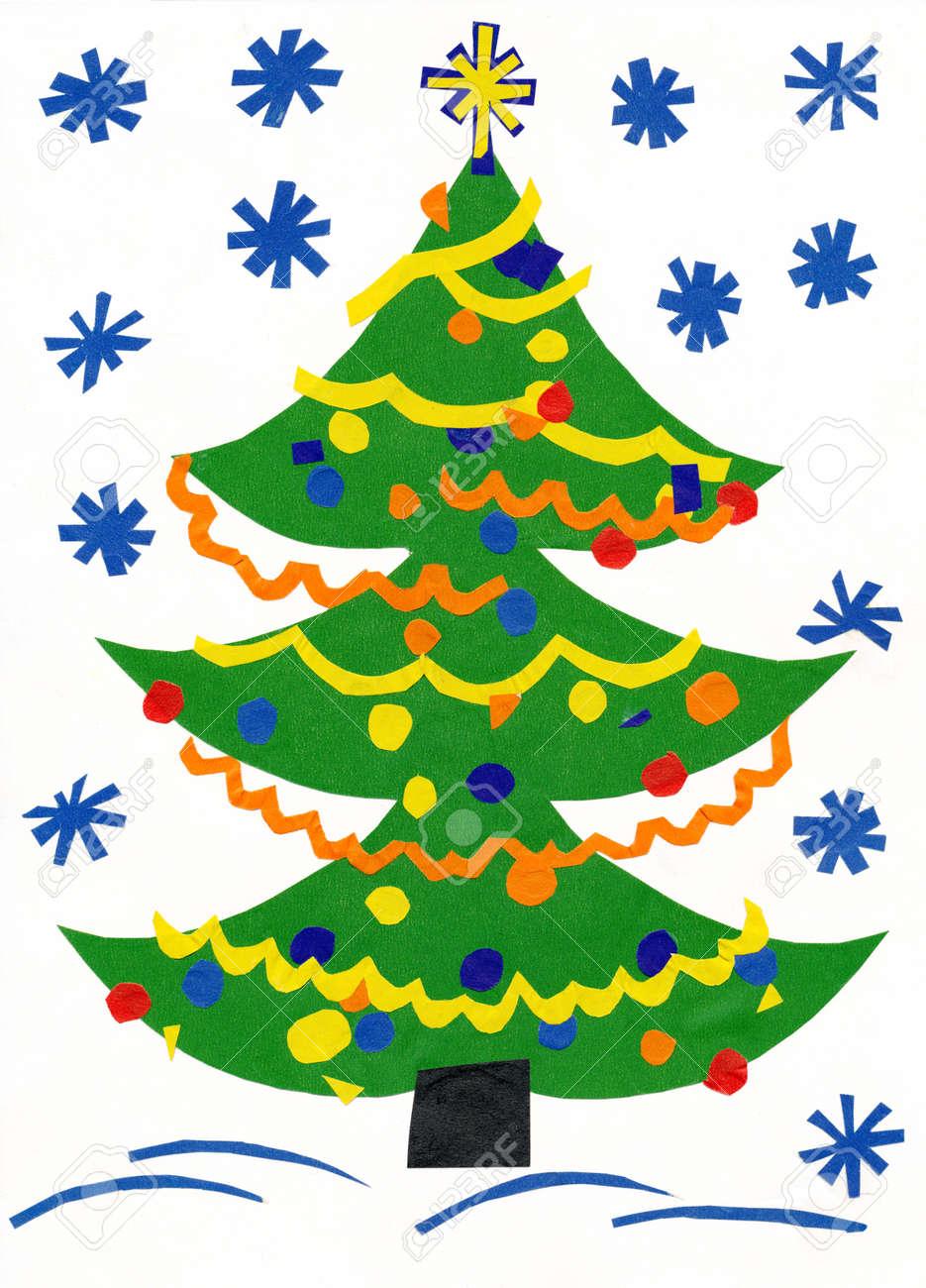 Christmas Tree Cutout.Christmas Tree Children Paper Cutout
