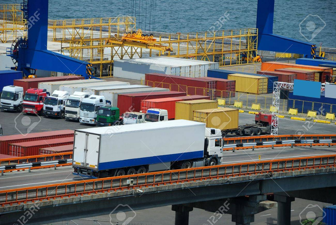 white truck transport container in port - 15775456