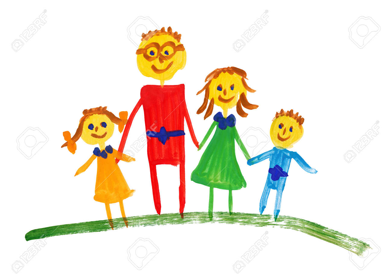 happy family. watercolor drawing - 16570927
