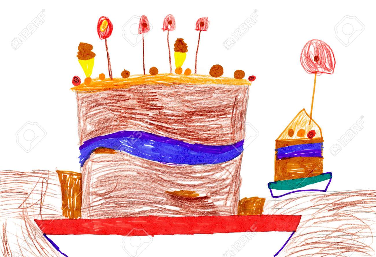 Big Cartoon Birthday Cake Childrens Drawing Stock Photo