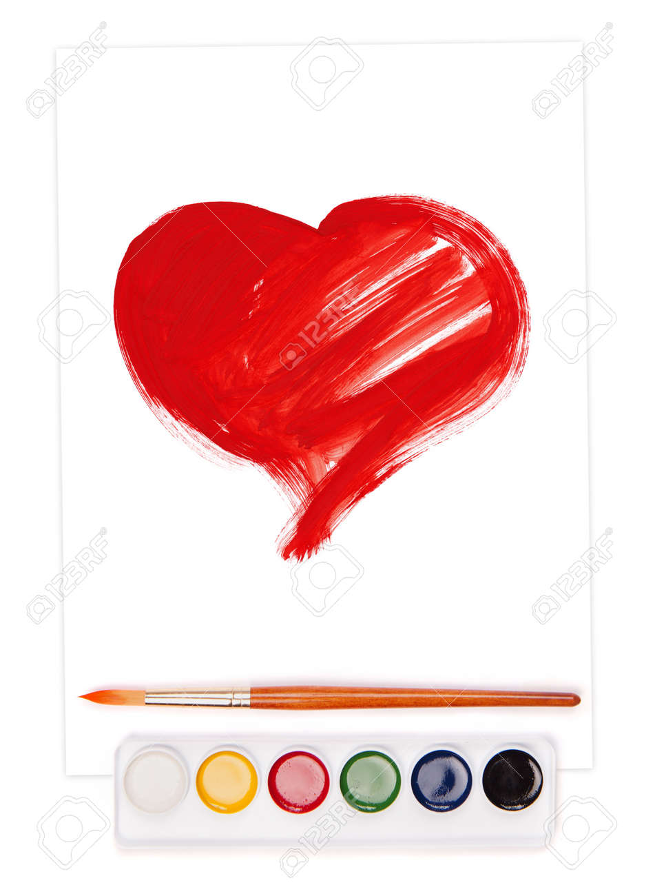 painted heart on sheet, watercolor set and brush Stock Photo - 17014485