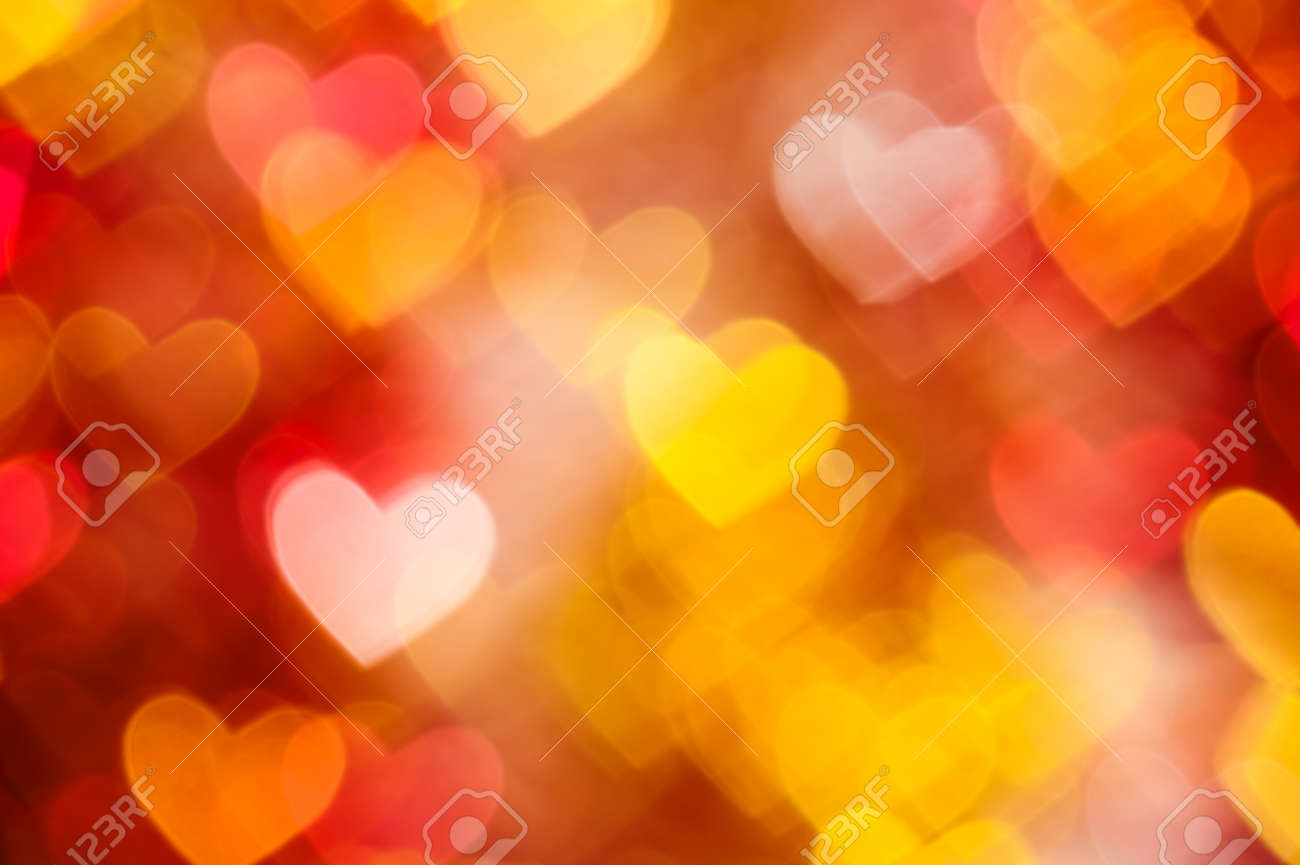 background from golden and red hearts Stock Photo - 17444382