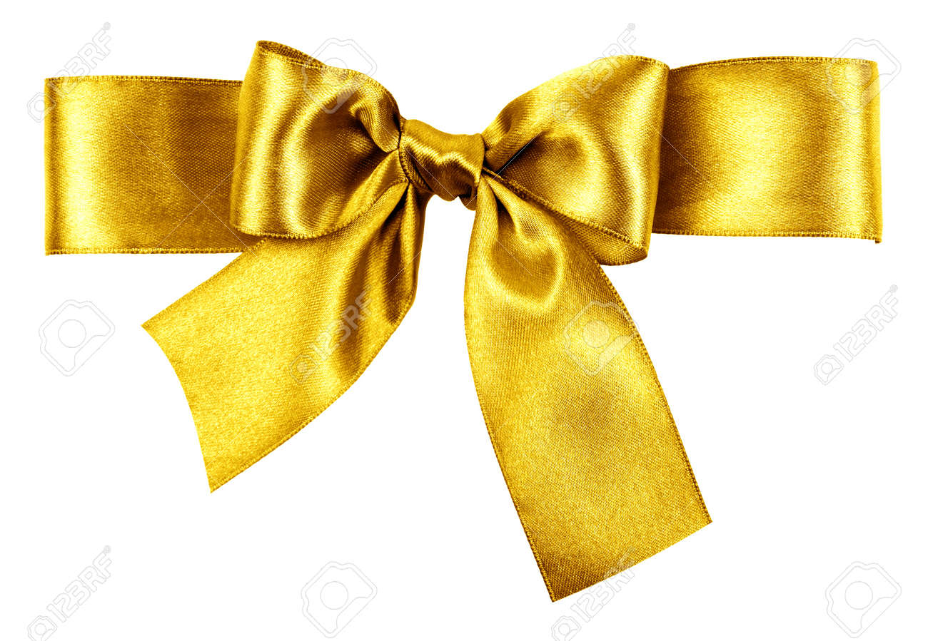 golden bow made from silk ribbon - 18797506