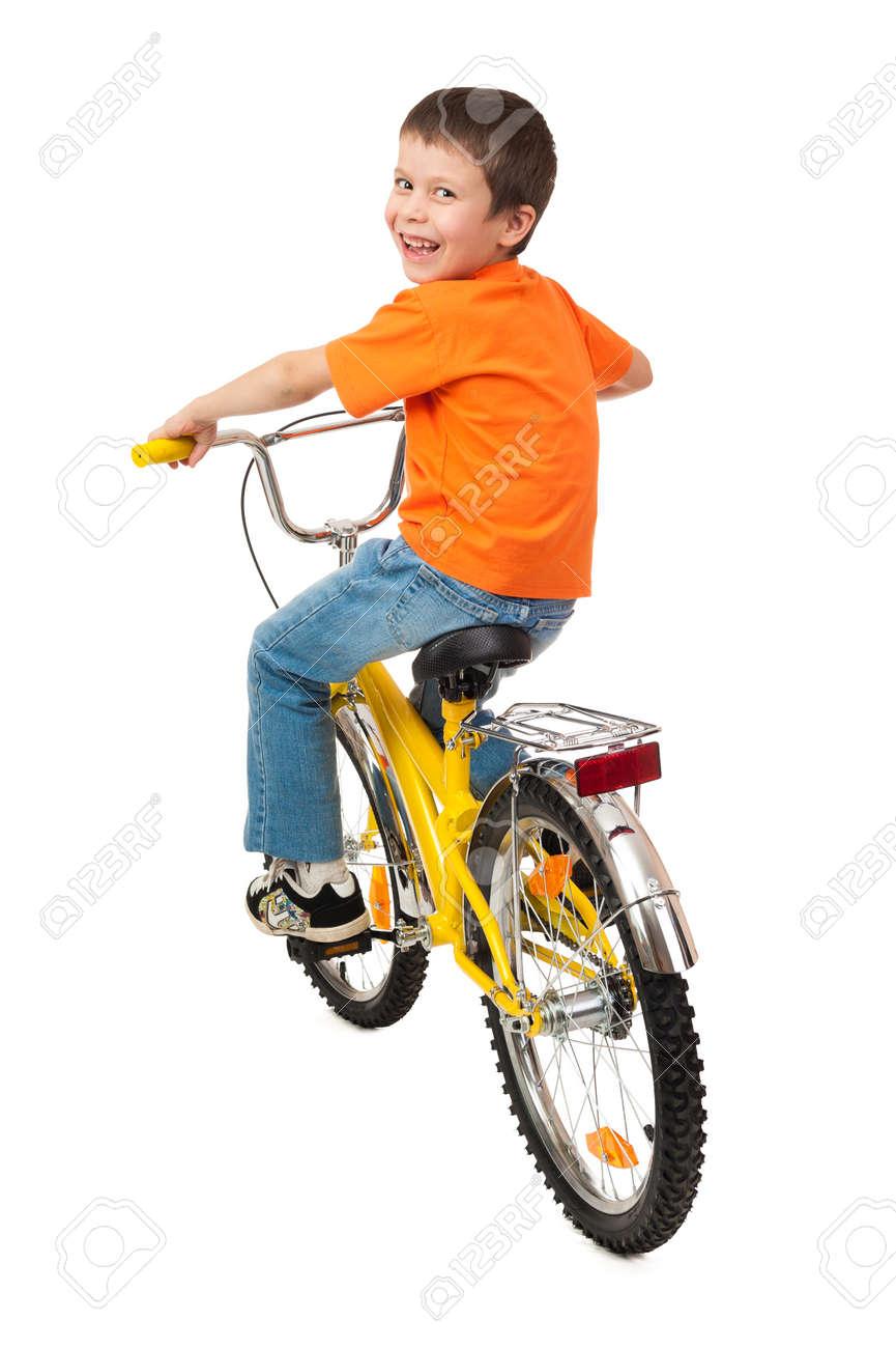boy on bicycle isolated on white Stock Photo - 22555959