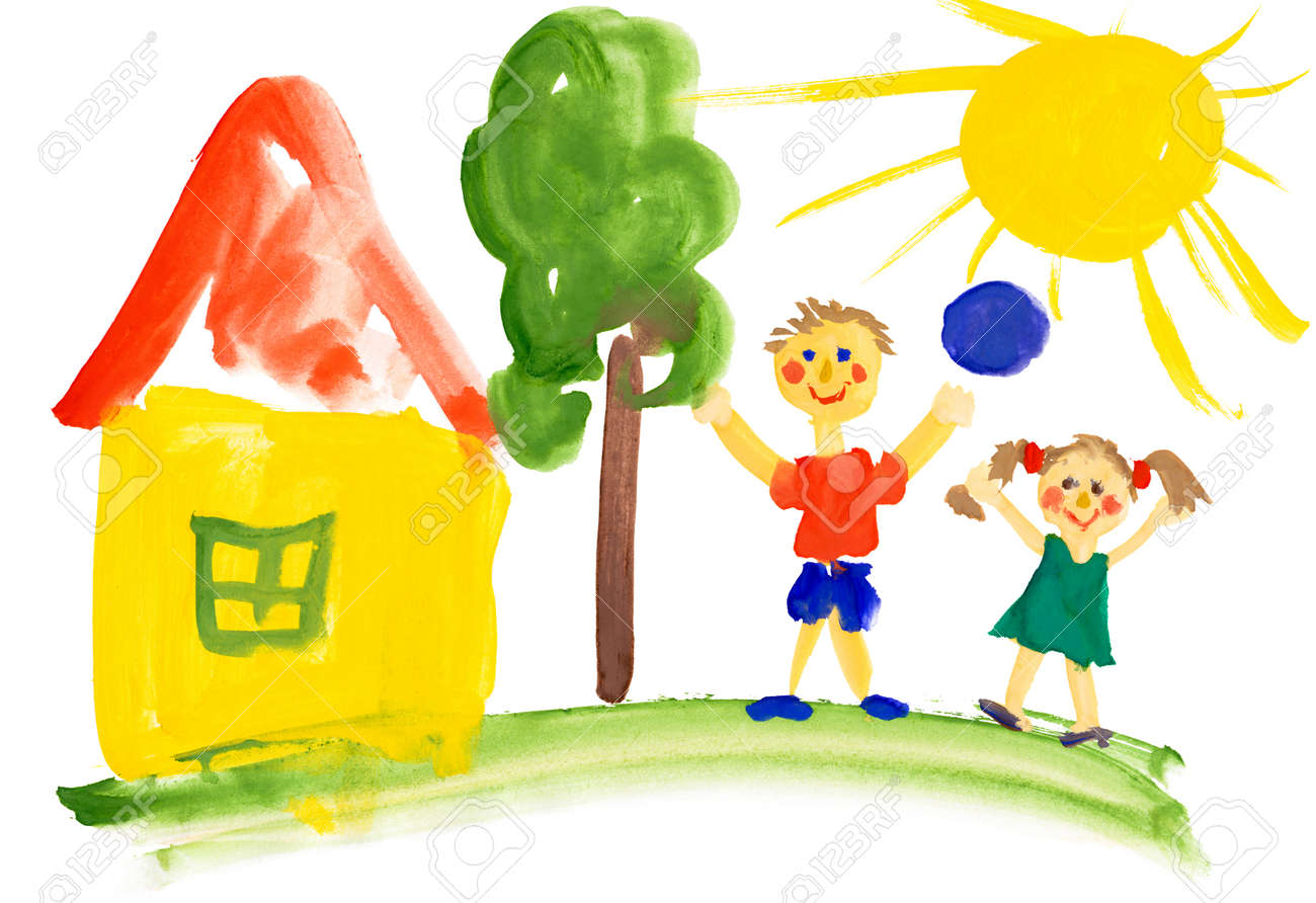 children playing near the house. watercolor drawing - 26520365