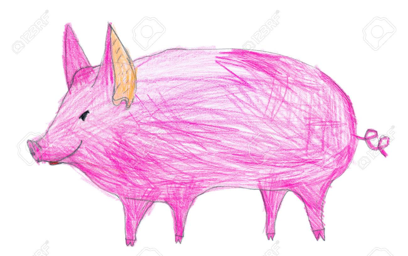 Pink pig children pencil drawing