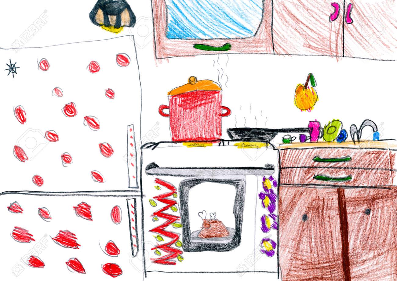 Kuche Interieur Kinder Zeichnen Lizenzfreie Fotos Bilder Und