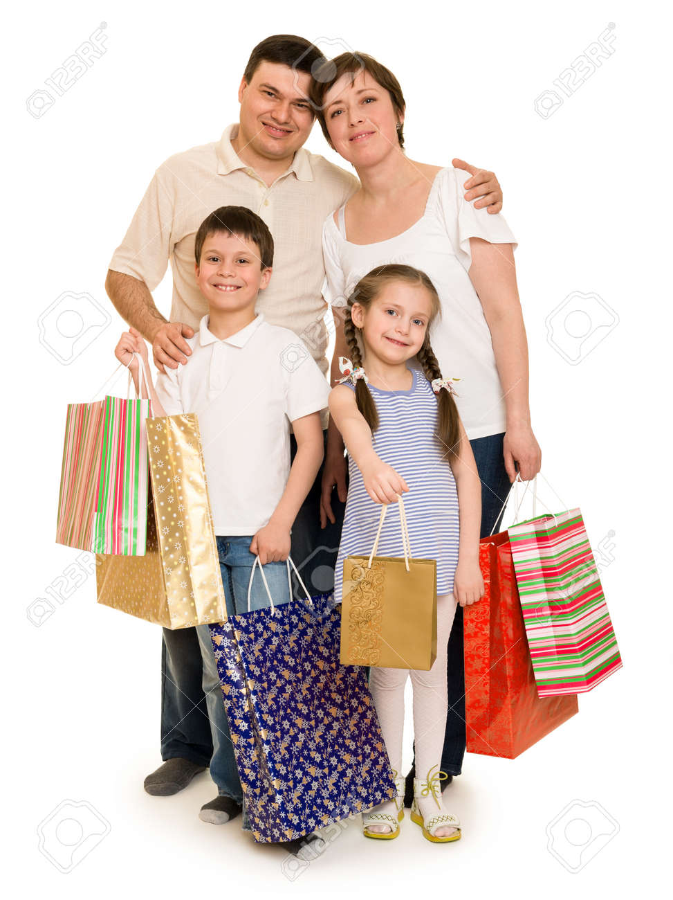Happy Family With Shopping Bag Stock Photo, Picture And Royalty ...