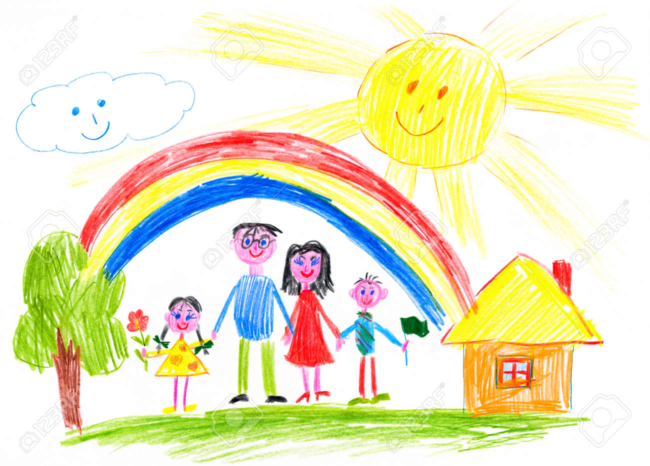 happy family on meadow near home child drawing stock photo