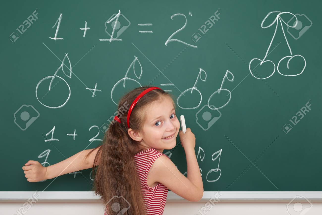 School Girl Exercise Math From Fruits On Board Stock Photo, Picture ...