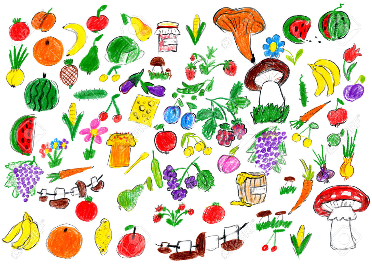 Cartoon Food Collection Fruit And Vegetables Child Drawing