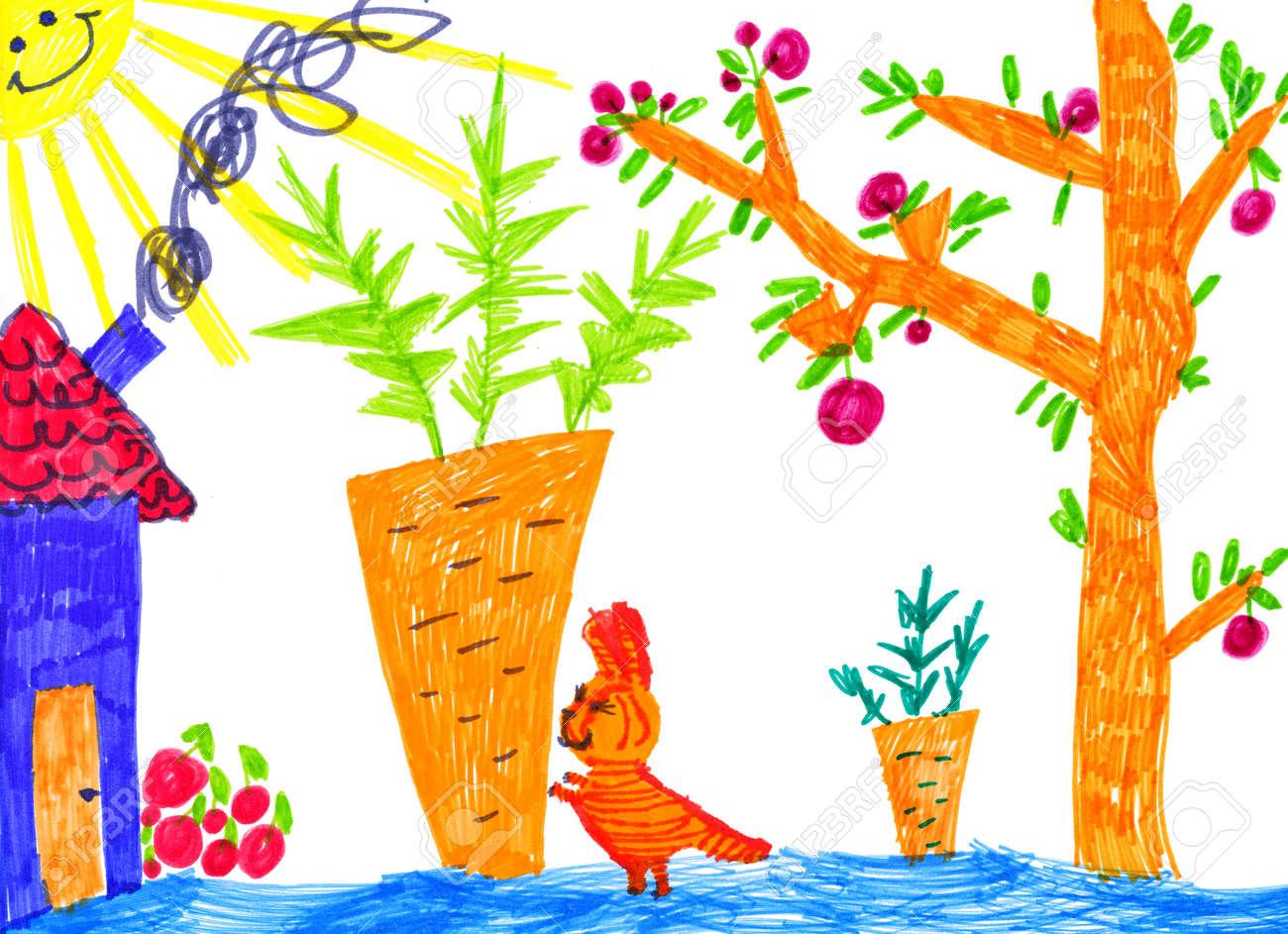 Gatito En Jardin De Cocina Dibujo Infantil Fotos Retratos