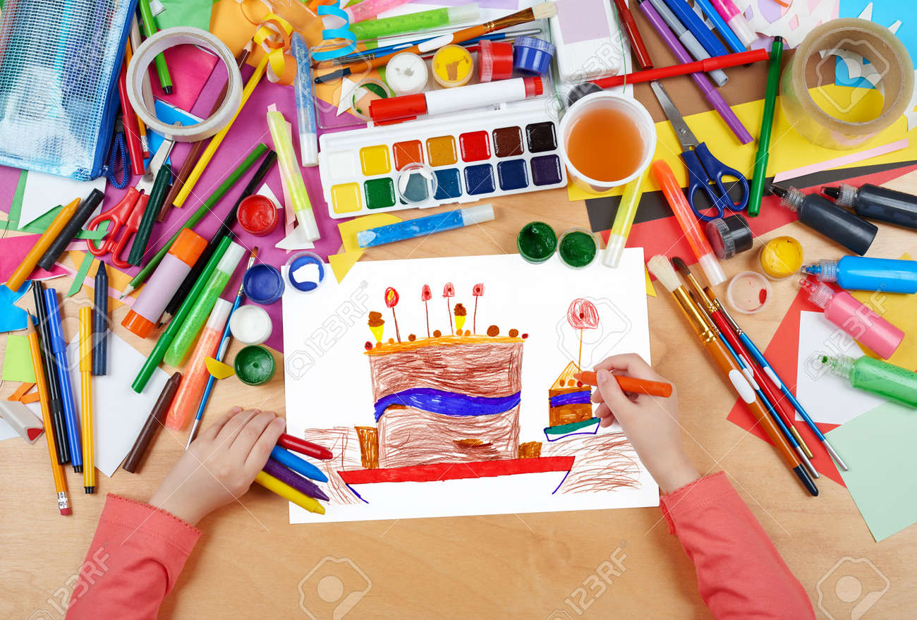 Big Cartoon Birthday Cake Child Drawing Top View Hands With