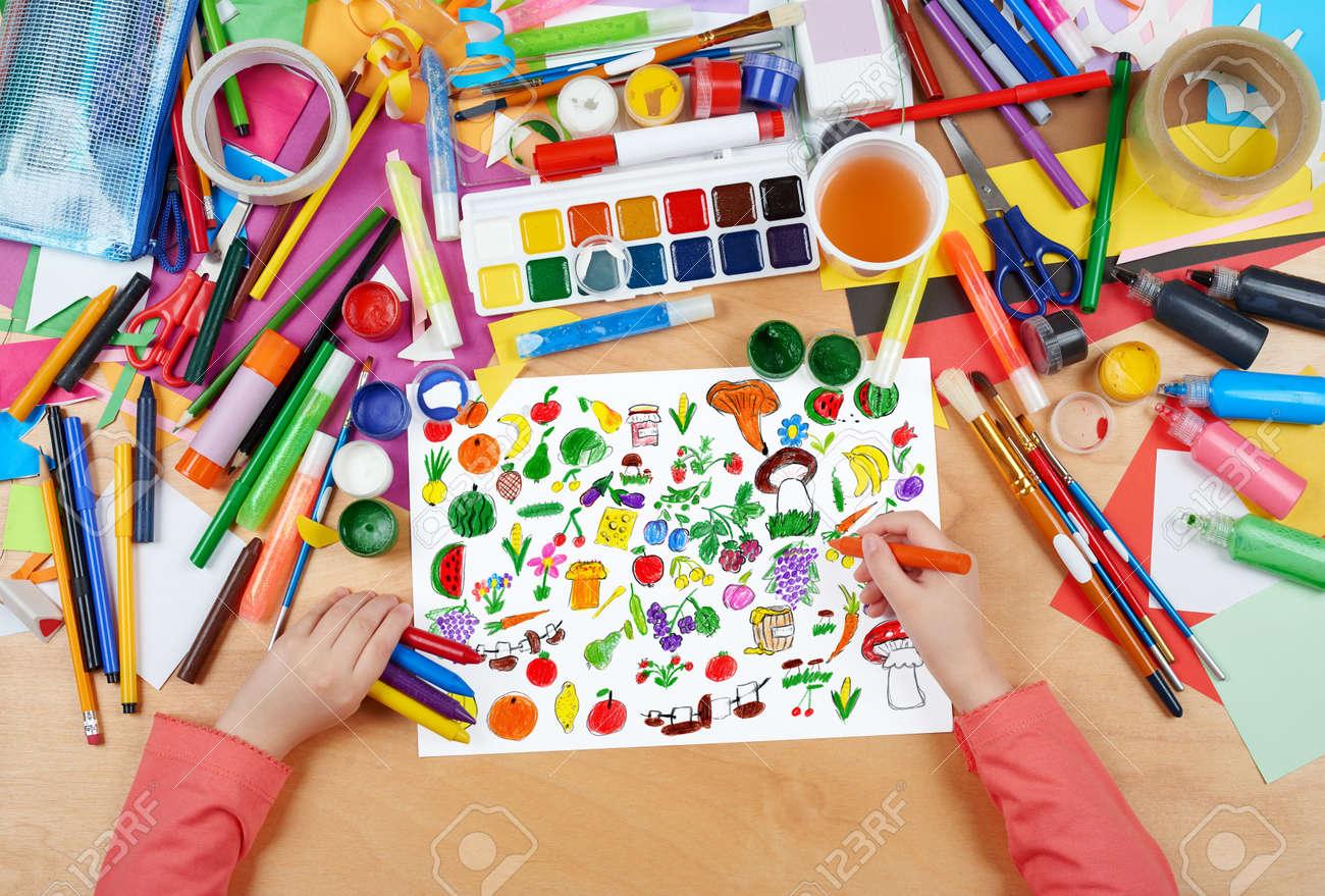 Cartoon Lebensmittel Sammlung, Obst Und Gemüse Kind Zeichnung ...
