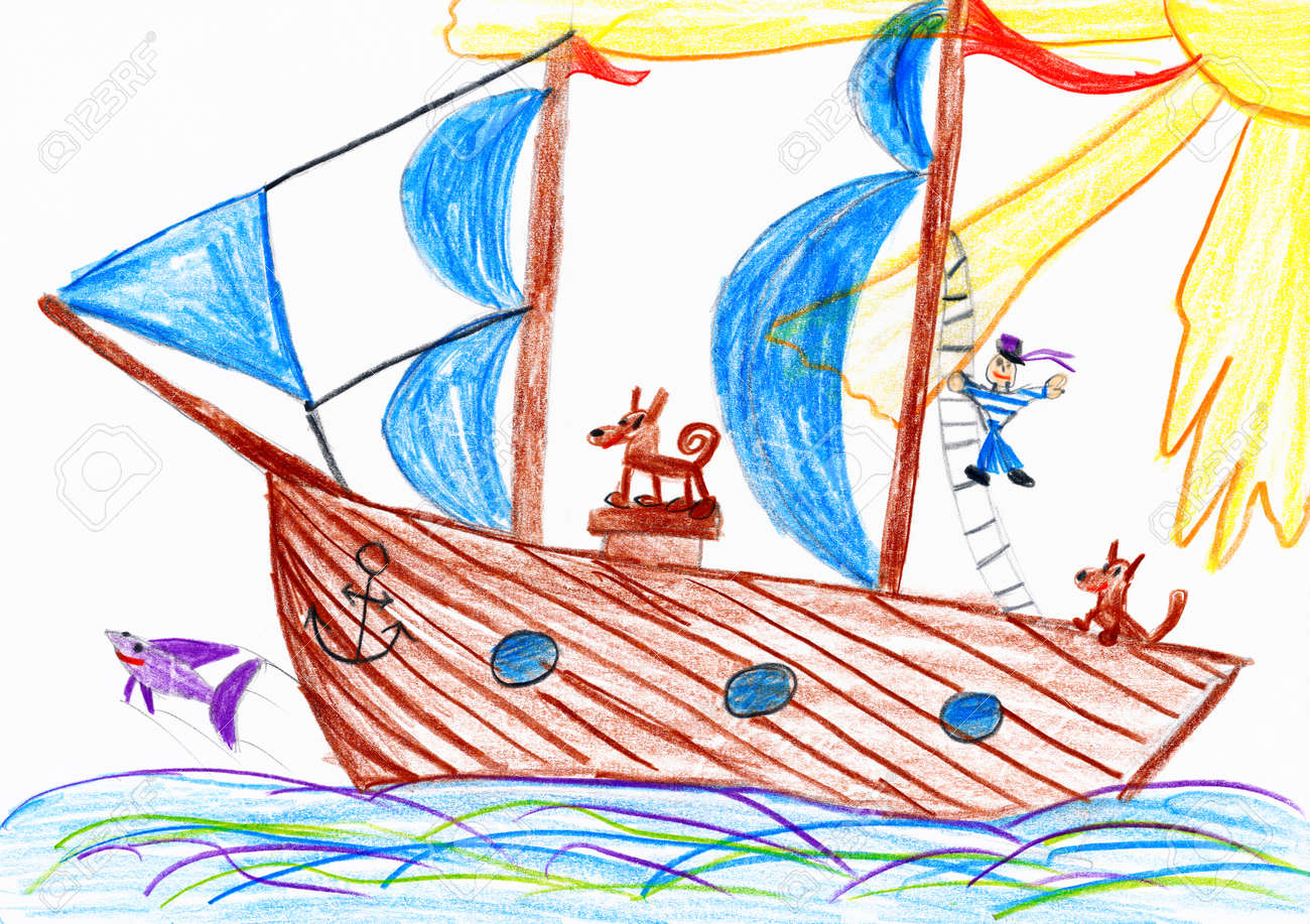 sailor and a dog traveling on a sailboat child drawing picture