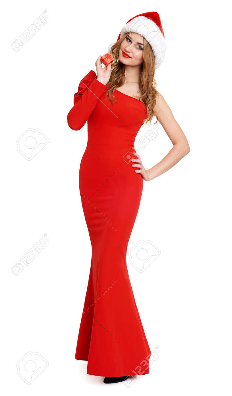 Beautiful Girl In Red Gown And Santa Hat Isolated On White ...