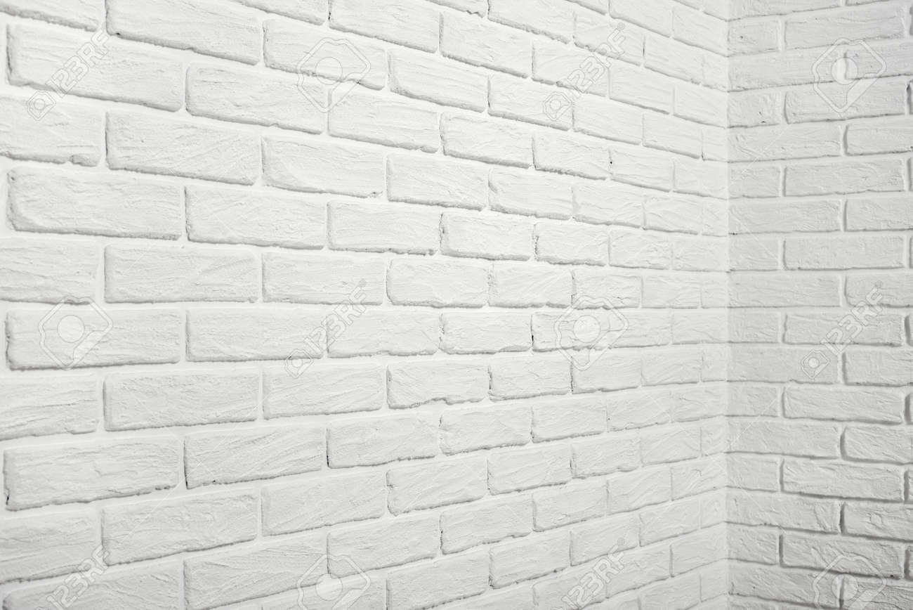White Brick Wall With Corner Abstract Background Photo