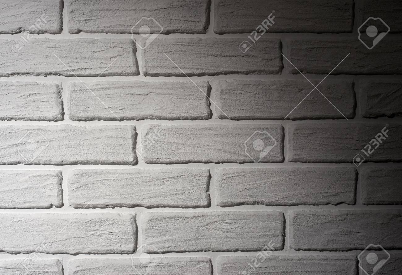 Mur Effet Brique Blanche mur de briques blanches avec effet de lumière et ombre, photo d'arrière  plan abstraite