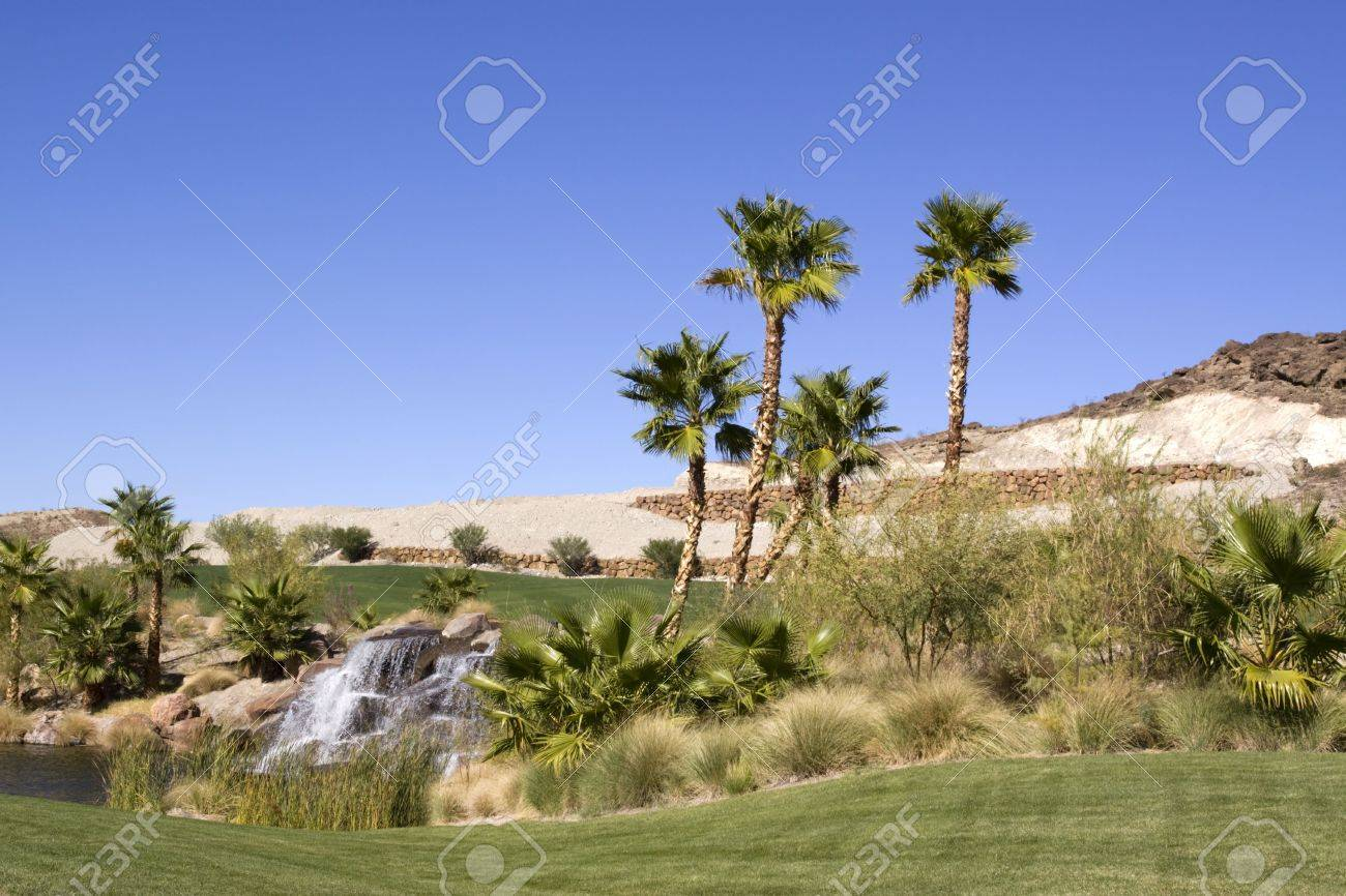 Waterfall and palm trees in desert oasis Stock Photo - 6470102