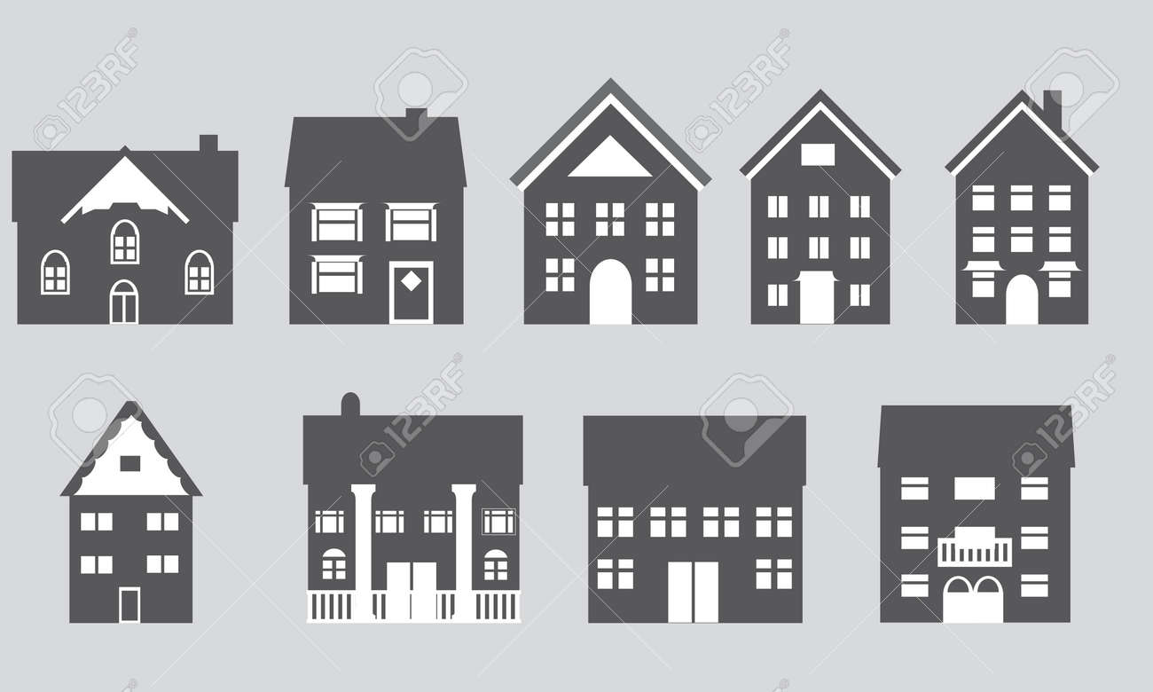 Houses With Different Architectural Styles Royalty Free Cliparts