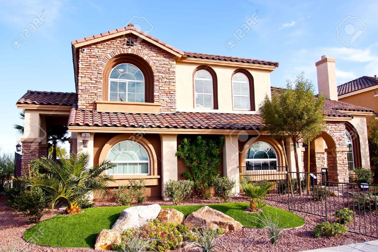 exterior view of a stucco house