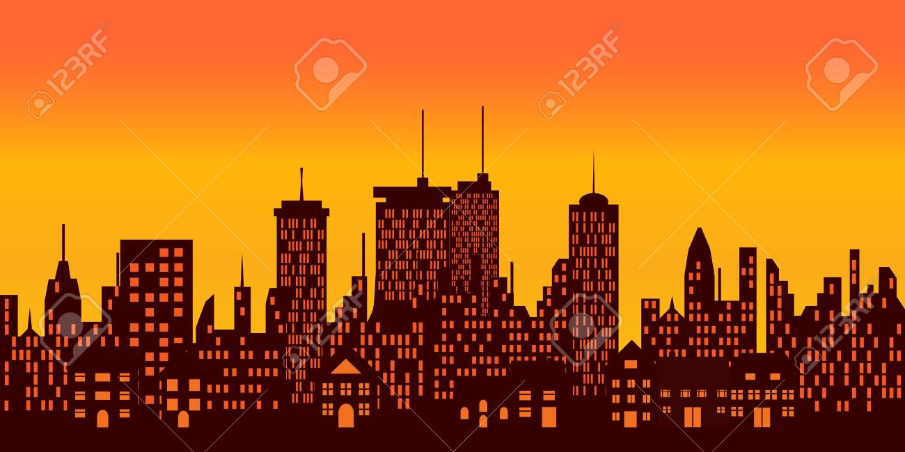 Sunset over a big city Stock Photo - 7085888