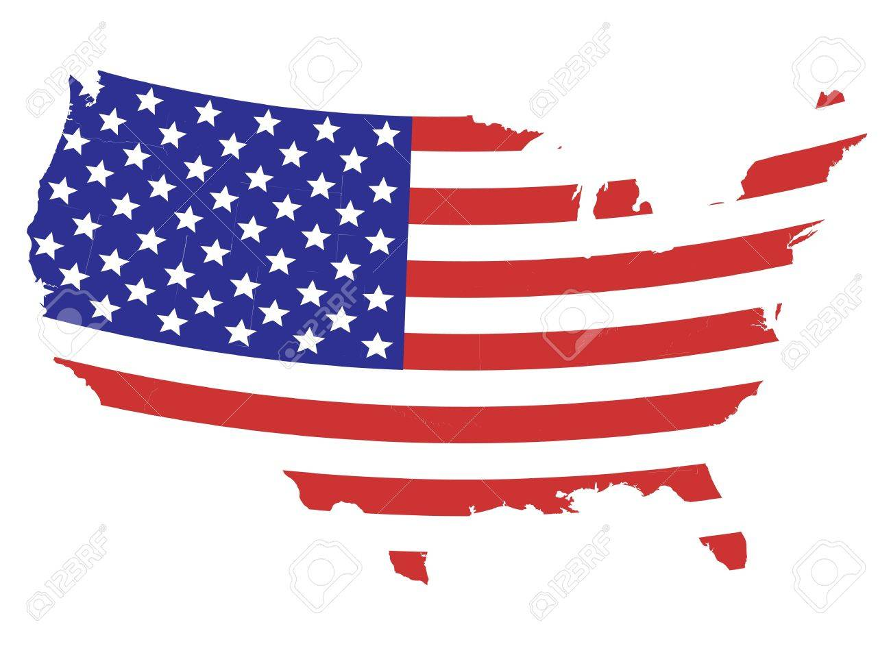 Map Of United States Of America With American Flag Design Stock