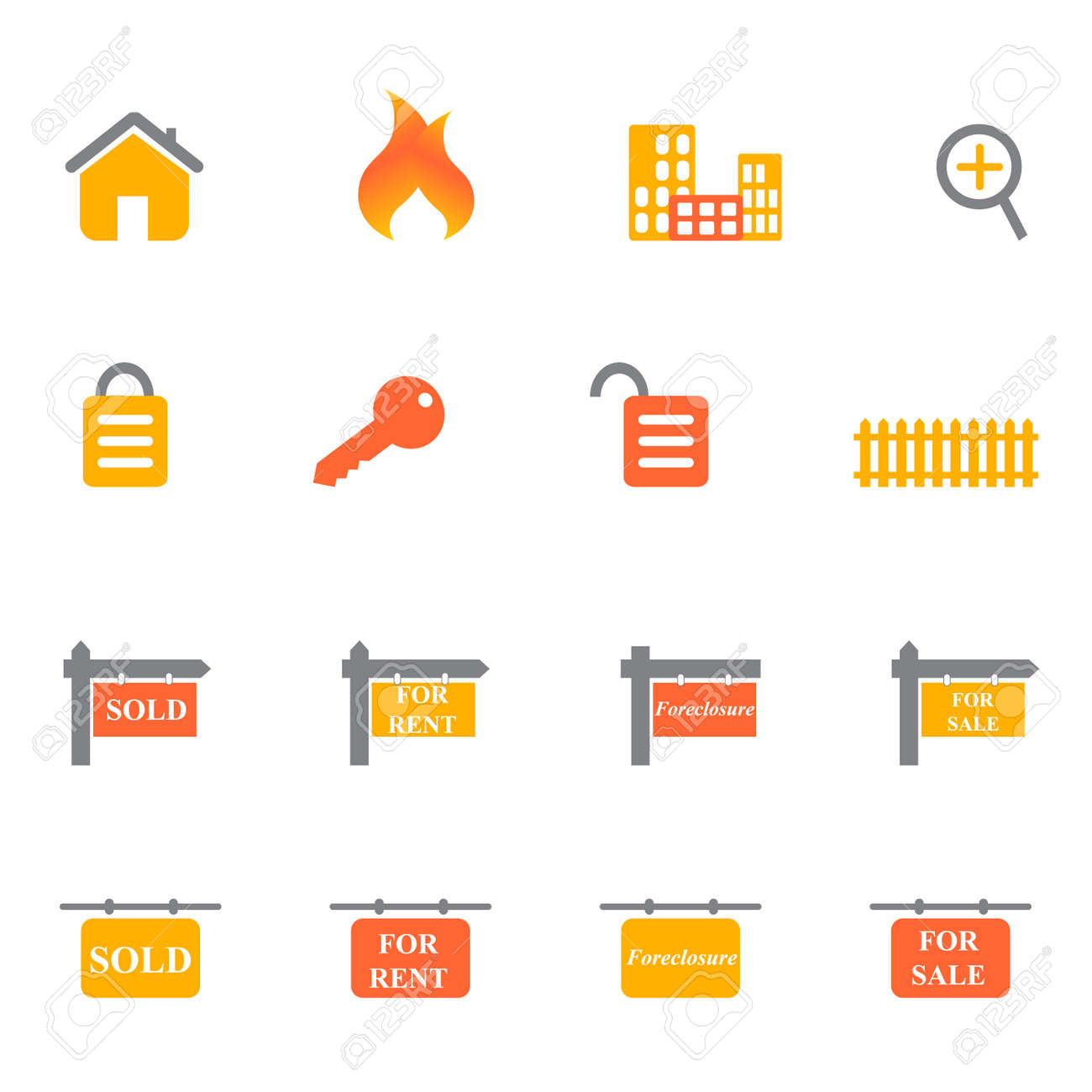 Real estate icons and symbols in orange and yellow tones Stock Vector - 7164100