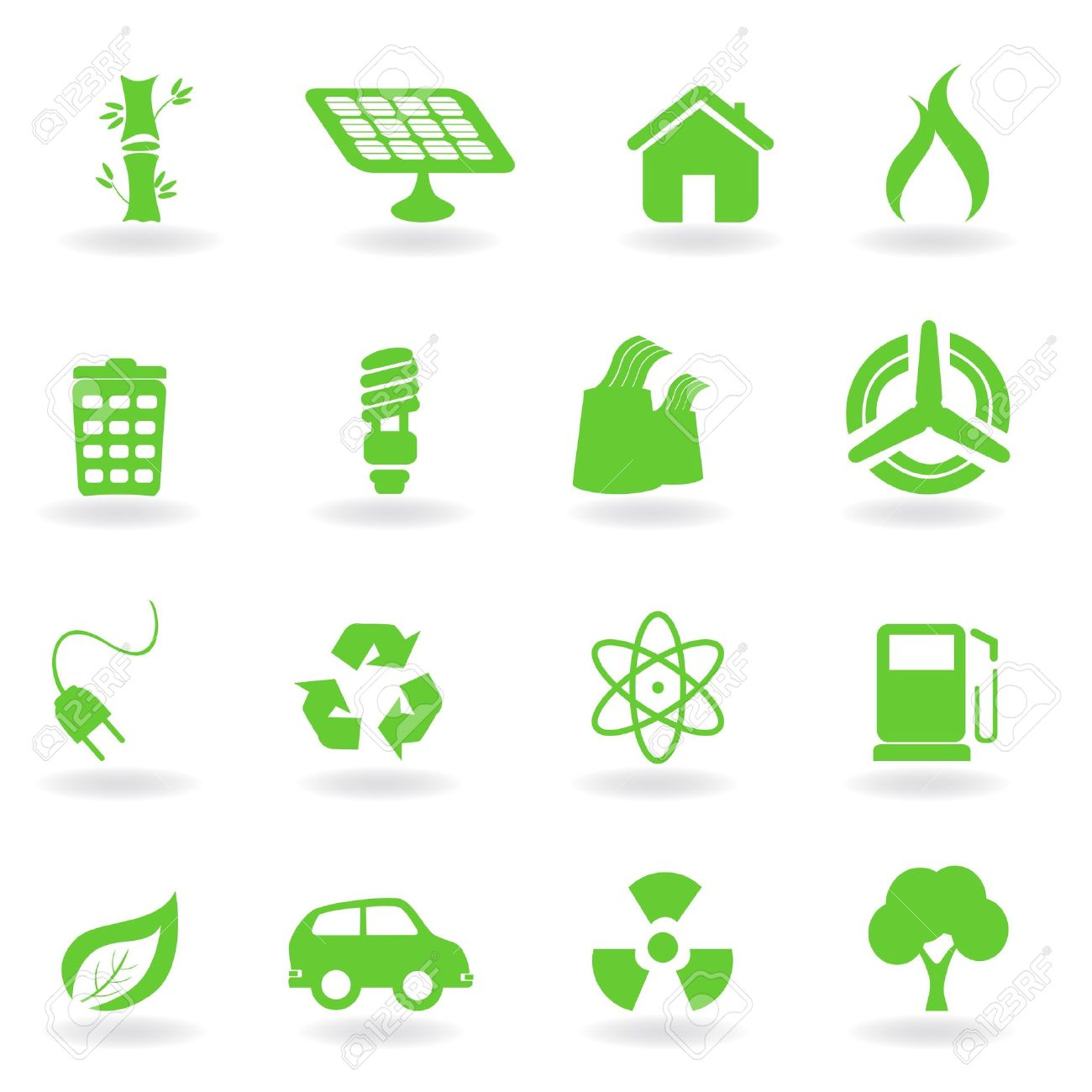 Ecological and environment related symbols icon set Stock Photo - 7615247