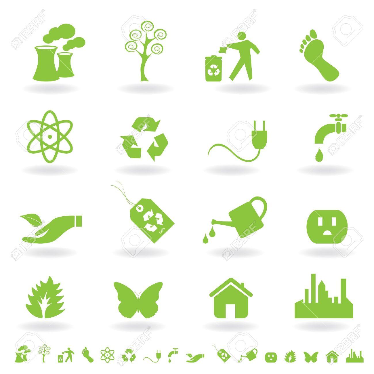 Eco friendly icon set in green Stock Photo - 7717468
