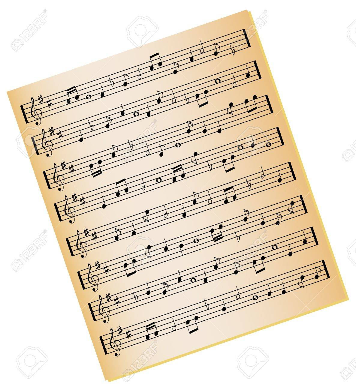 Sheet music on gold color paper Stock Photo - 7717475
