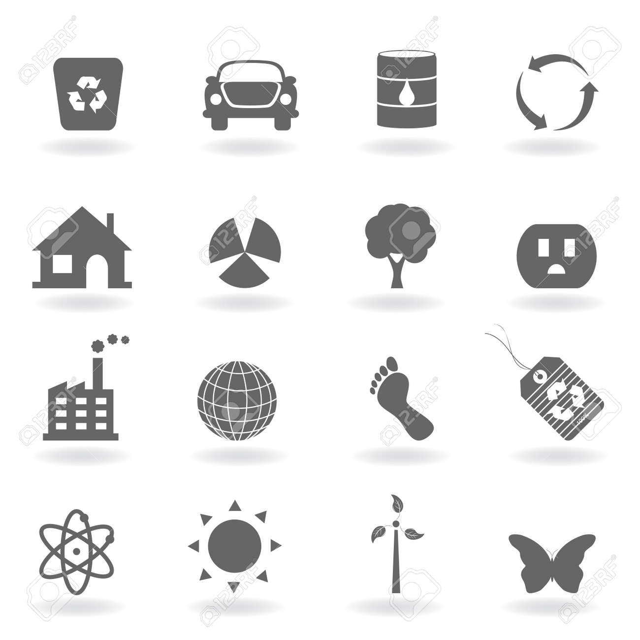 Eco icon set in grayscale Stock Photo - 7880269