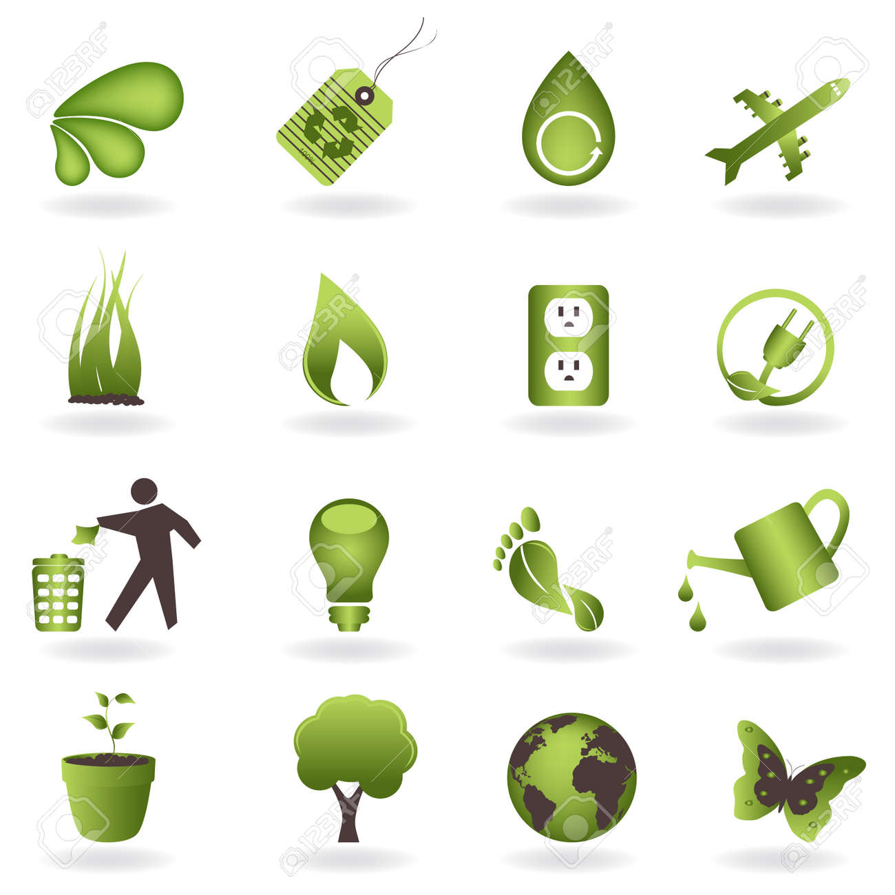 Eco related symbols and icons Stock Vector - 8106887