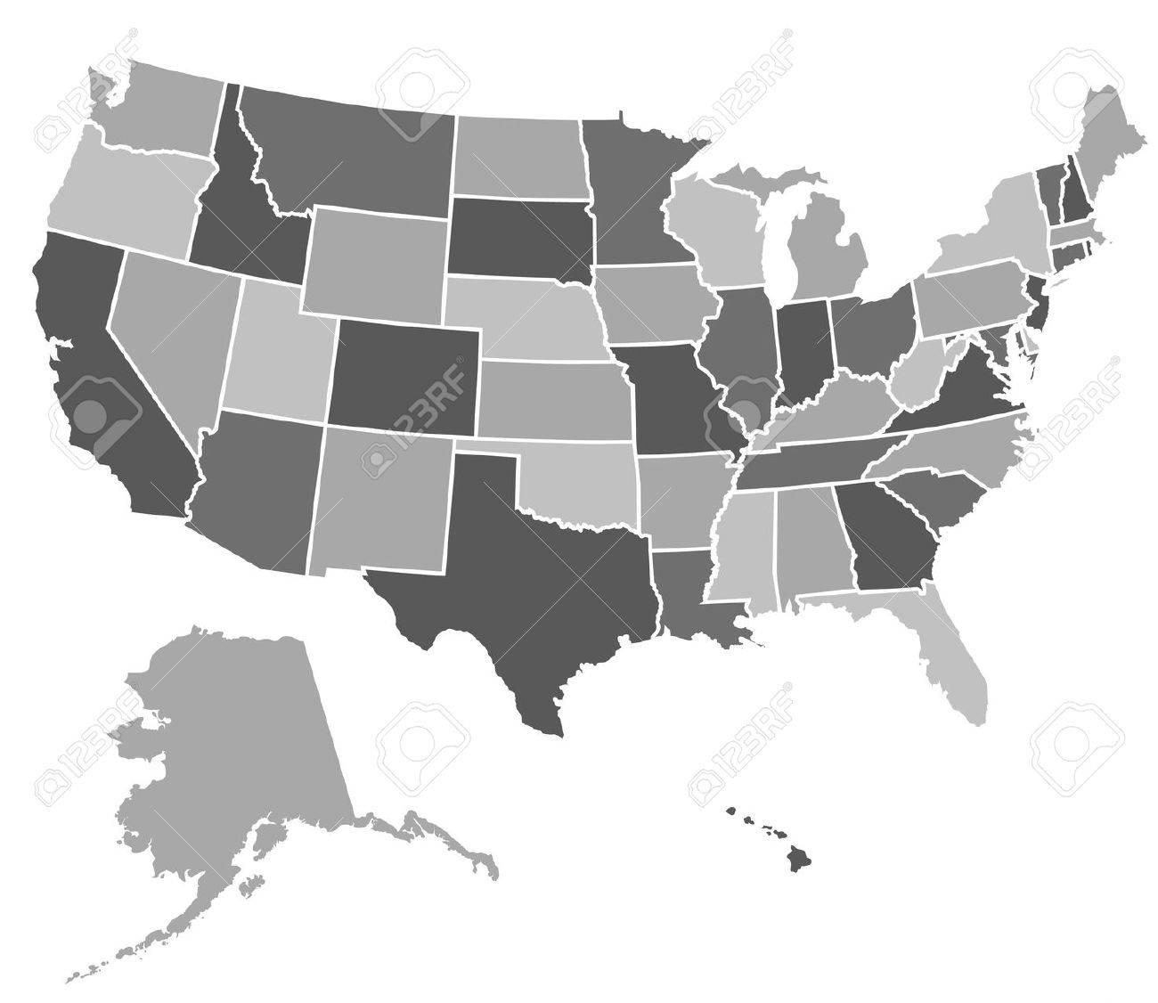 Mapa De Los Estados Unidos De América Ilustraciones Vectoriales ...