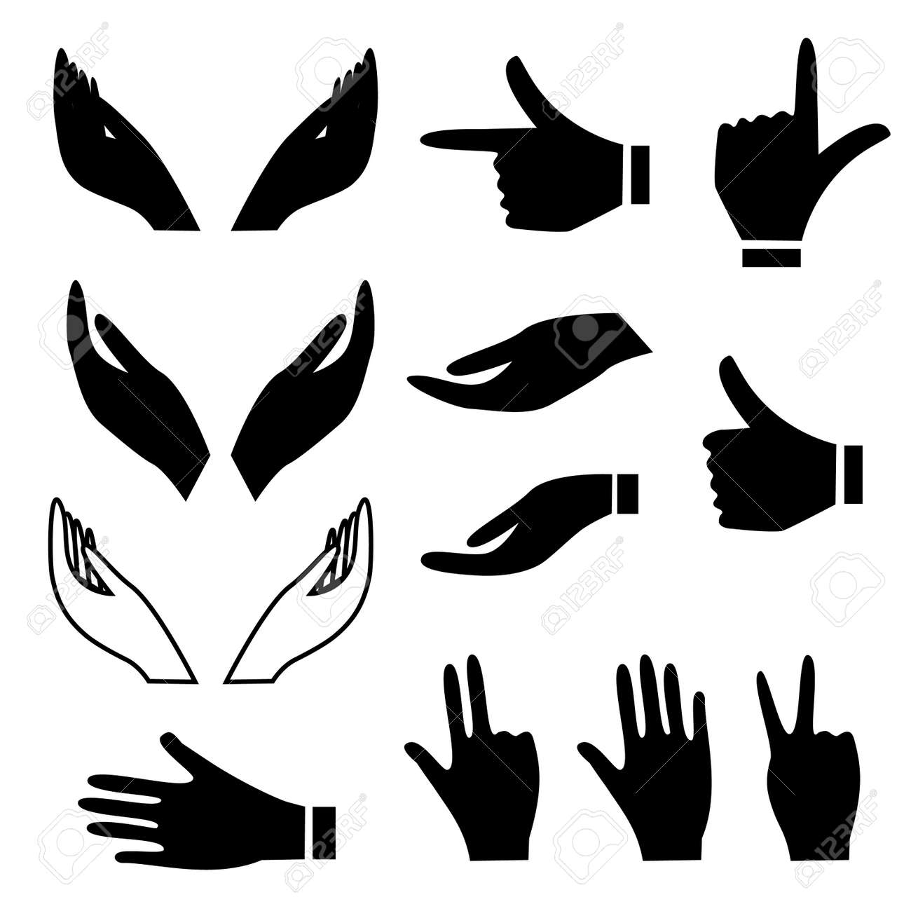 various hand signs and gestures royalty free cliparts vectors and rh 123rf com hand vector free clip art hand drawn vectors
