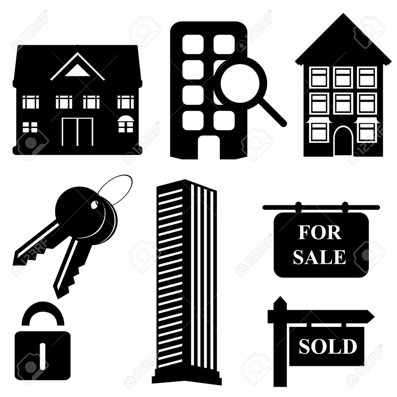 Real estate and housing symbols and icons - 8295036