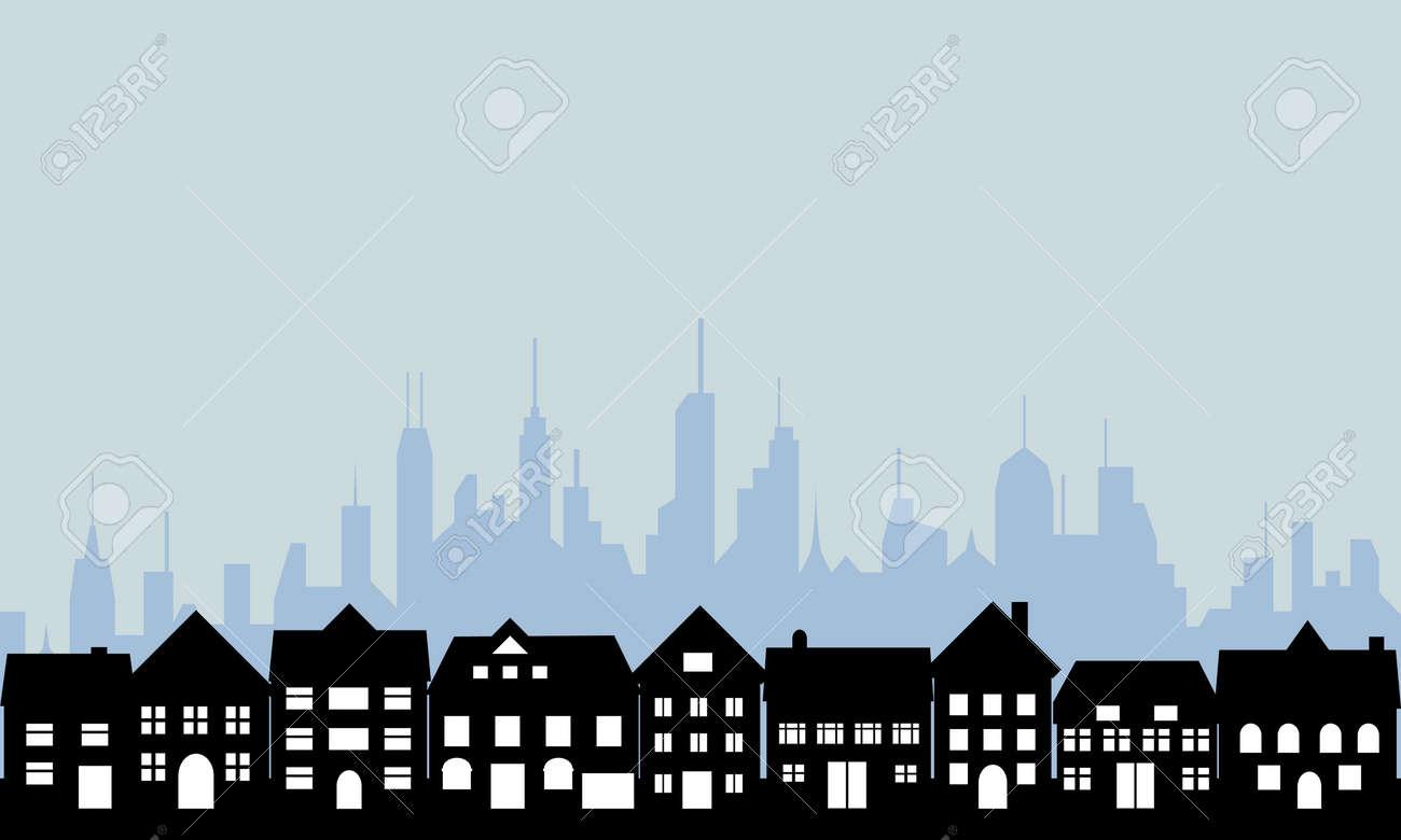 Suburban homes and big city Stock Vector - 8295034