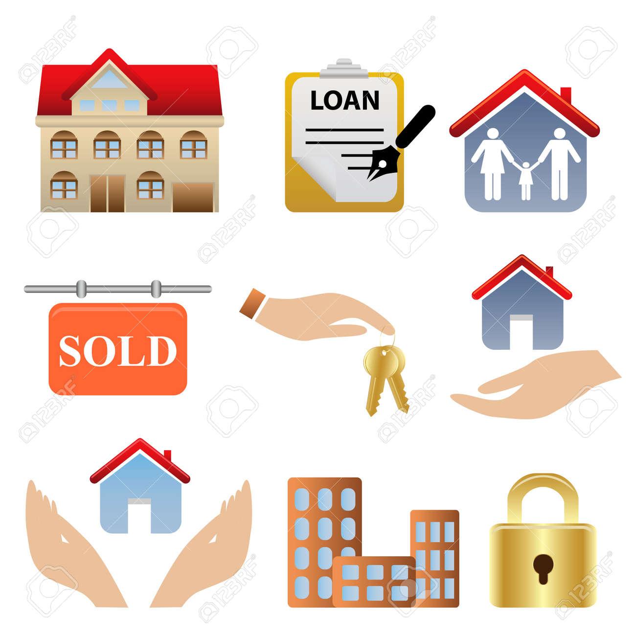 bienes raíces relacionadas con iconos y símbolos ilustraciones ... - Bienes Inmuebles Dibujos