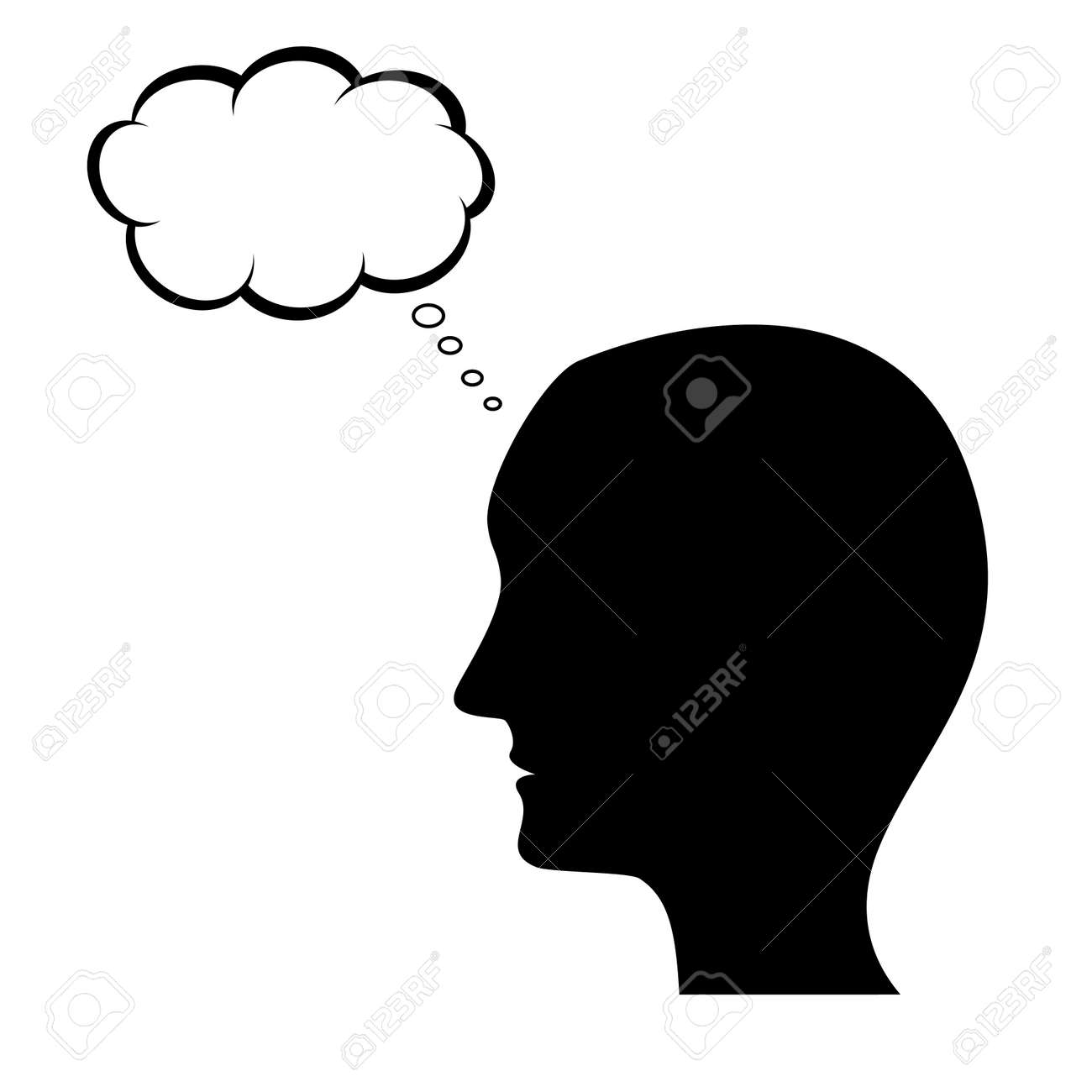 thinking man silhouette with thought bubble royalty free cliparts
